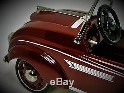 Rare Pedal Car Race Sport Hot Rod Exotic Vintage Metal Midget Model Maroon
