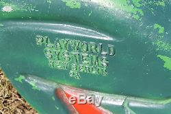 Rare Vintage Playworld Systems Playground Cast Aluminum Frog Ride On Spring Toy