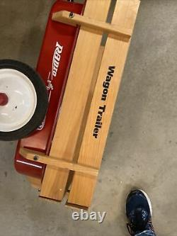 Rare Vintage Radio Flyer 2 Wheel Metal Wagon Tow-Behind Trailer with Wood Sides