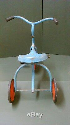 Rare Vintage Tri-ang Blue Tricycle Trike With Triang Pedals & Decal