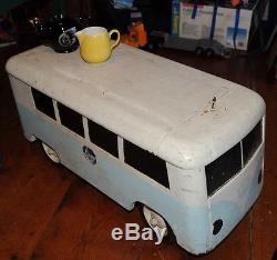 Rare Vtg. VW Volkswagen Split Window Bus custom built ride-on / toy box c1968