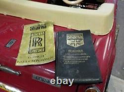 Rare retro Vintage SHARNA ROLLS ROYCE CORNICHE Electric Pedal Car ORIG BOOKS, KEY