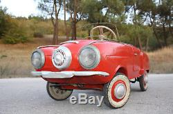 Russian Pedal Car Moskvitch Vintage Soviet Ussr Metal Toy Very Rare 1970