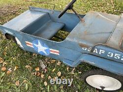 Super Rare Vtg 1950s ORIGINAL USAF 3521 JEEP Metal Steel PEDAL CAR