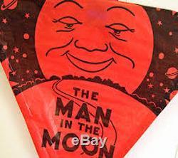 Top Flight Man In The Moon red/black kite Vintage