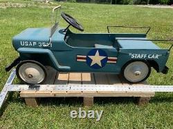 USAF United States Air Force Vintage Jeep Pedal Car