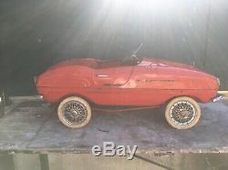 VERY RARE VINTAGE 60's GIORDANI ITALY MASERATI PEDAL CAR RED 100% ORIGINAL VGC