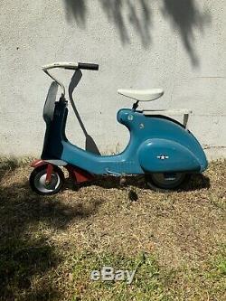 VINTAGE 1950's GI LITTLE CHIEF MOTOR BIKE PEDAL CAR SCOOTER Kids Vespa