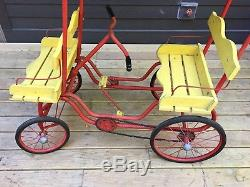 VINTAGE 1950's GYM DANDY CHAIN DRIVE PEDAL CAR SURREY ART LINKLETTER RED YELLOW