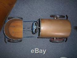VINTAGE 25 LONG SPEEDSTER PEDAL CAR, METAL, COPPER AND WOOD, 1907 MODEL NO. 3
