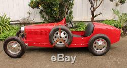 VINTAGE Aluminum Metal Baby Bugatti Type 52 35 Electric Ride In Pedal Car Racer