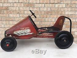 VINTAGE FIRE BALL PEDAL CAR RACER, CLEANED, LUBED, EXCELLENT RIDING COND! 1960s