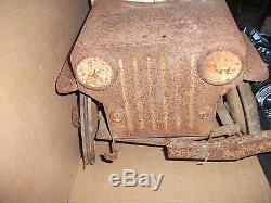 VINTAGE SHERWOOD PEDAL CAR JEEP with DUMP BED Made 1947-1950 LIGHTNING SERVICE