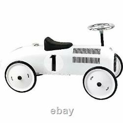Vilac Vintage Ride On Car, Metal Speedster. 30 Long Polar White