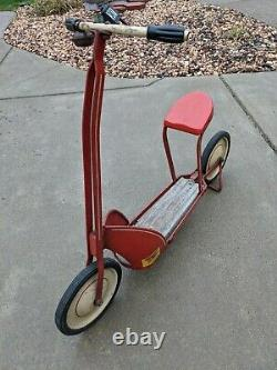 Vintage 1930's Airflow Croft Jamestown Model 46-4 Metal Kick Sit Scooter Toy