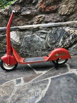 Vintage 1930s Steel Cheif Scooting Star Push Scooter (dd)