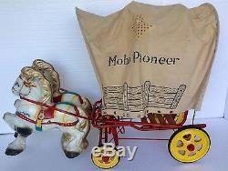 Vintage 1949 MOBO PIONEER antique toy PEDAL CAR old western cowboy COVERED WAGON