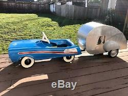 Vintage 1950-60 Studebaker Jet Hawk Pedal Car With Teardrop Trailer, Original