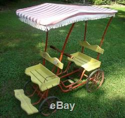 Vintage 1950's Child's Gym Dandy Surrey Bike Pedal Car Now with Horse