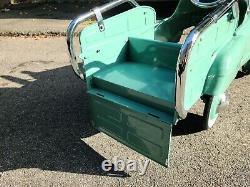 Vintage 1950s Sad Face Green'Estate Wagon' Pedal Car