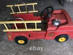 Vintage 1960's AMF Firefighter Unit No. 507 Pedal Car Fire Truck with Ladders Ford