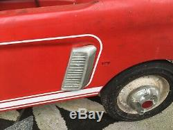 Vintage 1960s Ford Mustang Pedal Car Red Rare