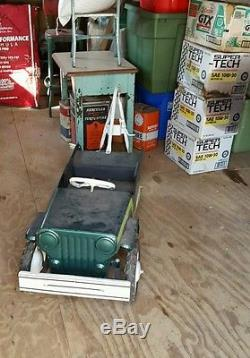 Vintage 1960s Pedal Tow Truck Jeep Super cool See photos