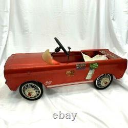 Vintage 1964 AMF Junior Mustang Toy Pedal Car Red w Spoke Wheels Dealer Car