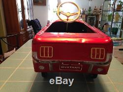 Vintage 1964 Original Red Amf Junior Mustang Pedal Car Made In U. S. A