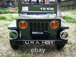 Vintage 1970's Jeep Willys Army Pedal Car Ride On Ts106 Metal 36 X 18 X 18