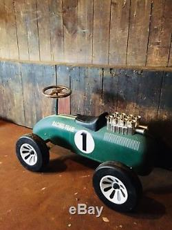 Vintage 1980s English Childs Sit On Ride On Toy Car British Racing Green