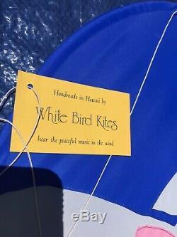 Vintage 1980s Handmade Rainbow Dragon Cat Kite 25 Ft. White Bird Kites signed