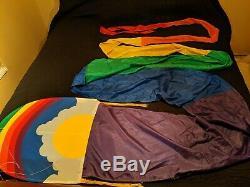 Vintage 1980s Handmade Rainbow Dragon Sun Kite 25 Foot White Bird Kites Nice