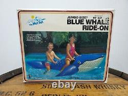 Vintage 1987 Blue Whale Ride On Inflatable Blow Up Rare (u)