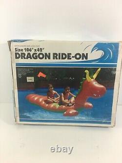 Vintage 1988 Intex Dragon-Ride-On Inflatable Ride-On Pool Float 106 X 42 Huge