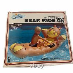 Vintage 1988 Intex The Wet Set BEAR RIDE-ON 70 X 43 Inflatable Pool Float RARE