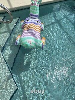 Vintage 1988 Intex WetSet Ride On Rainbow Zebra Inflatable Pool Float