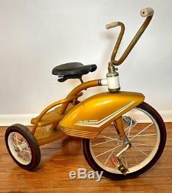 Vintage 50s-60s Tricycle Ez-Step 2-Step Gold Art Deco Large Fender Red Wall Tire