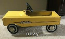 Vintage AMF Pacer Pedal Car Metal Yellow Body Kiddie Car 1975 Child Youth Toy