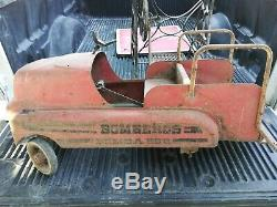 Vintage APACHE BOMBEROS BOMBA FIREMEN'S Metal Pedal Car From MEXICO