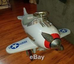 Vintage ARMY PURSUIT Metal Pedal Fighter Riding Plane Airplane Car Mustang WWII