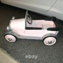 Vintage Amazing Rare Pedal Car Pink Model T Roadster Style With Running Boards