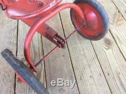 Vintage / Antique Red Pedal Tractor, Chain Driven, Metal