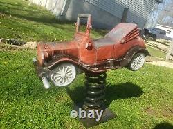 Vintage Cast Aluminum Spring Playground Toy J. E. Burke Co Red Car withwh wheel