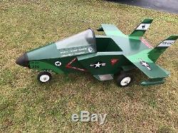 Vintage Custom One Of A Kind Military Jet Fighter Plane pedal car Yolk Steering