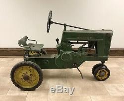 Vintage Eska John Deere 60 Pedal Tractor Large Model (nice Orig. Barn Find!)