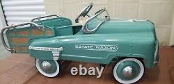 Vintage Estate Wagon Classic Light Blue Children Metal Pedal Car Exc. Condition
