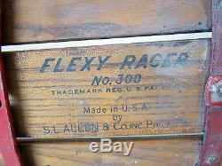 Vintage FLEXY RACER No. 300 Street Sled Blue Wheels Flexible Flyer S. L. Allen