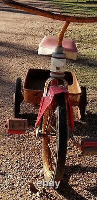 Vintage Fire Chief Cycle Tricycle Wagon / Pedal Wagon original