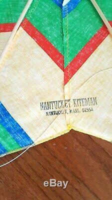 Vintage Handmade Nantucket Kiteman Fabric Kite 8 Pointed Star Rare Made in USA